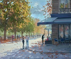 Parisian Park, Coffee Stop by Charles Rowbotham -  sized 15x12 inches. Available from Whitewall Galleries